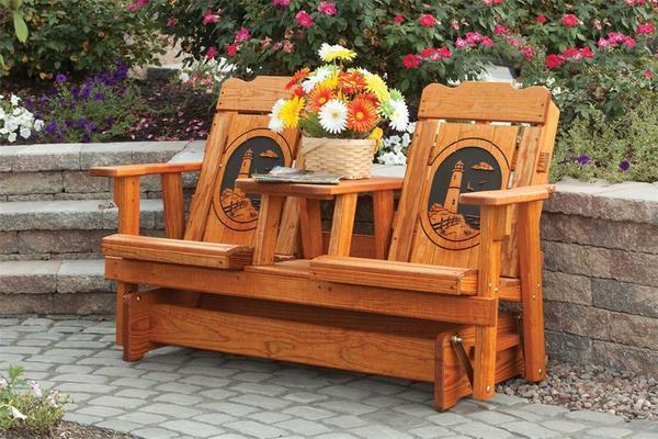 Amish Pine Wood Creative Classic Outdoor Settee Glider