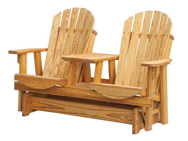 Pine Adirondack Tete-A-Tete Glider With Connecting Table