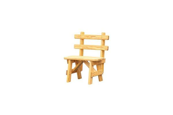 Amish Pine Wood Small Bench with Back