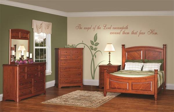 Amish Johnson Five Piece Bedroom Furniture Set in Rustic Cherry - Made in USA
