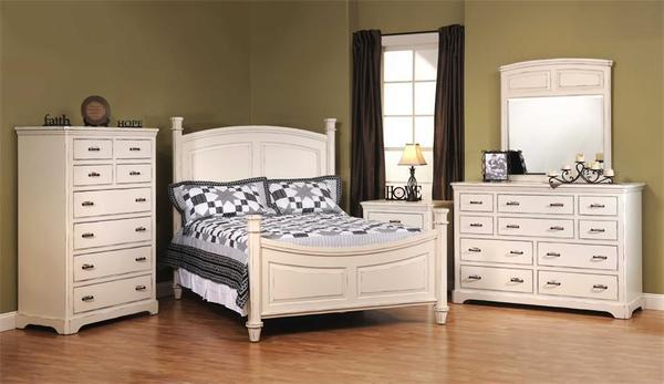 American Made Johnson White Five Piece Bedroom Furniture Set in Solid Maple Wood