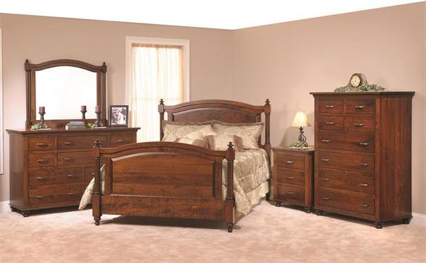 Amish Sunbury Five Piece Bedroom Set in Rustic Cherry