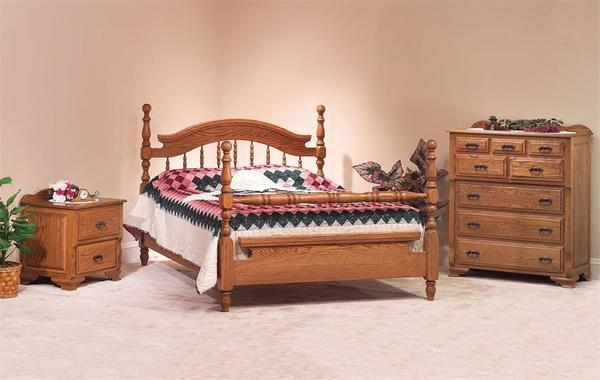 Amish Deluxe Solid Oak Wood Three Piece Bedroom Furniture Set