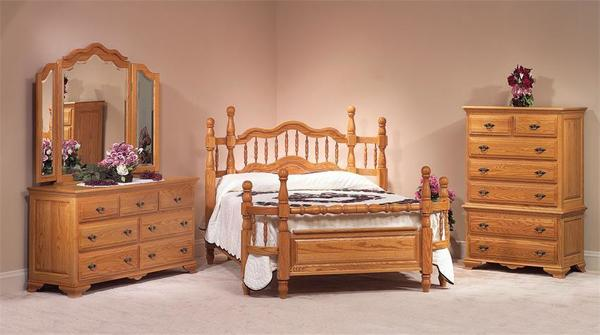 best service c5c95 864eb Amish Wrap Around Oak Wood Four Piece Bedroom Furniture Set