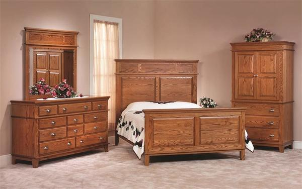 Amish Monterey Solid Oak Shaker Three Piece Bedroom Furniture Set