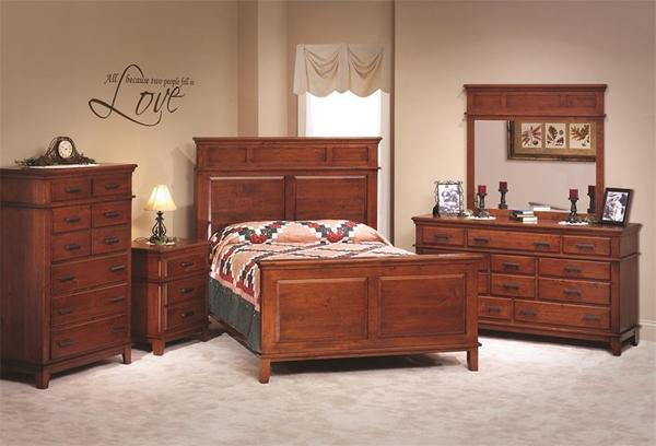 Amish Monterey Shaker Five Piece Bedroom Furniture Set in Rustic Cherry Wood