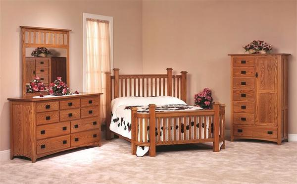 Amish Mission Deluxe Oak Wood Three Piece Bedroom Furniture Set - Made in USA