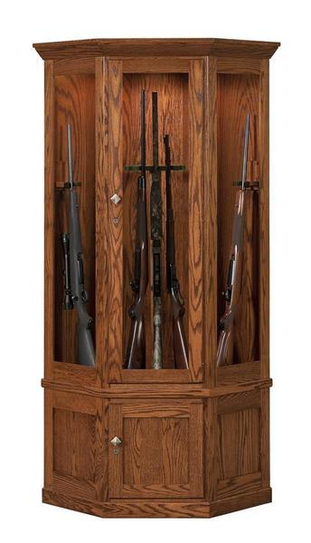 Amish Mission Style 14-Gun Corner Cabinet with Carousel