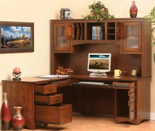 Amish Prairie Mission L-Desk with Hutch Top