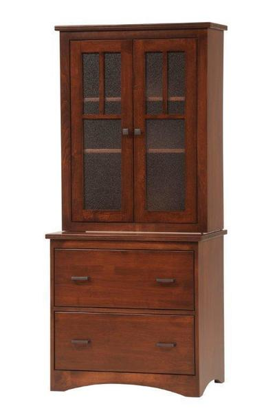 Amish Prairie Mission Two Drawers File Cabinet with Hutch Top