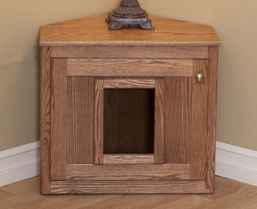 Amish Hardwood Corner Cat Litter Box