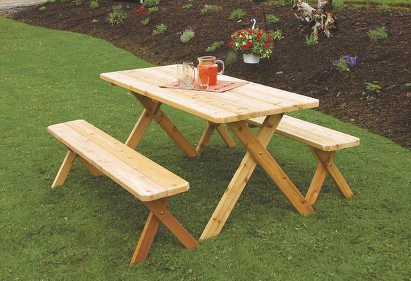 Amish Cedar Wood Crossleg Table with Benches Patio Set