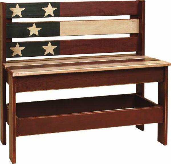 Amish Patriotic Flag Bench