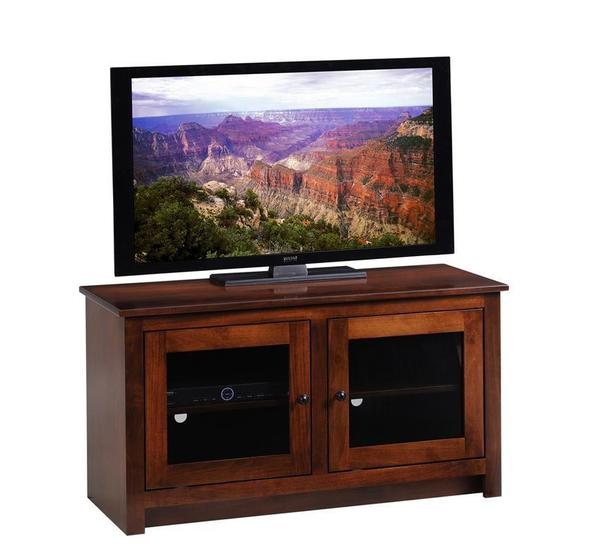 Amish Express TV Stand with Glass Doors - Quick Ship