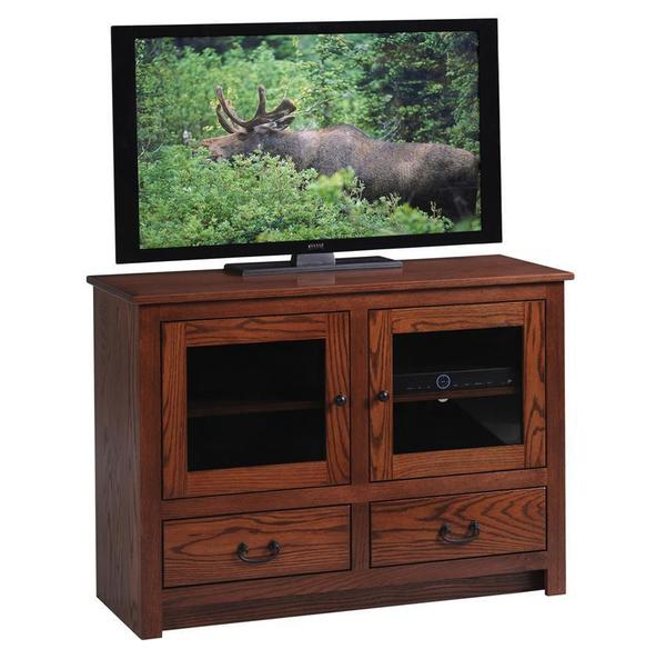 Amish Made Express Glass Door Tall TV Stand- Quick Ship