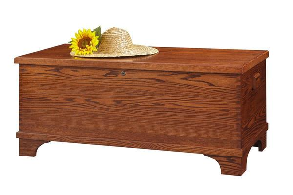Amish Oak Wood Large Flat Top Hope Chest