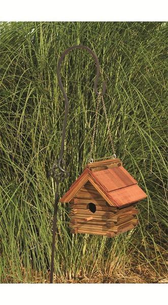 Amish Log Cabin Bird House with Cedar Roof