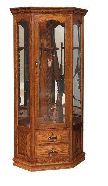 Amish Corner Swivel 8 Gun Storage Cabinet