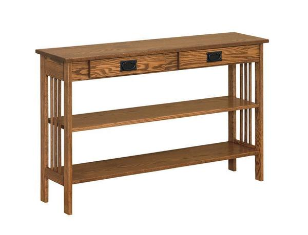 Amish Mission Narrow Hall Table with Drawers