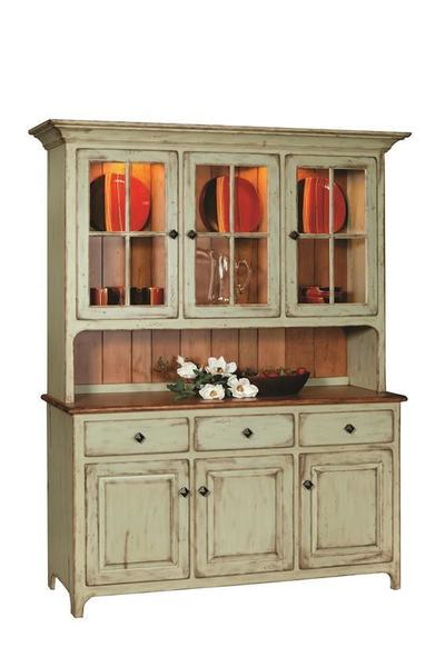 Amish Plymouth Country Hutch with Three Top Glass Doors and a Two Tone Paint and Stain Finish