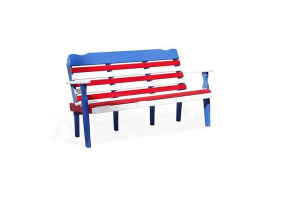 American Made Poly Lumber Patriotic Park Bench