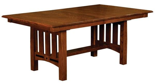 Amish New Castle Mission Trestle Dining Table