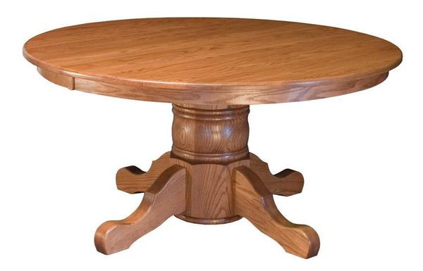 "Amish Hardwood Large Single Pedestal Table with 13"" Column"