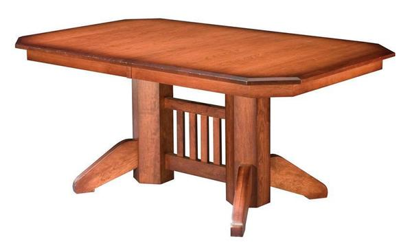 Amish Mission Double Pedestal Table with Slat Center