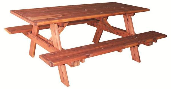 Amish Red Cedar Wood 6' Picnic Table