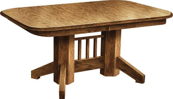Amish Mission Double Pedestal Table