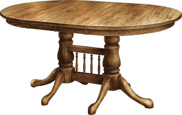 Amish Tulip Double Pedestal Dining Room Table