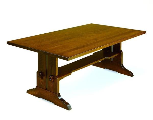 Amish Fraser Mission Trestle Solid Plank Top Table