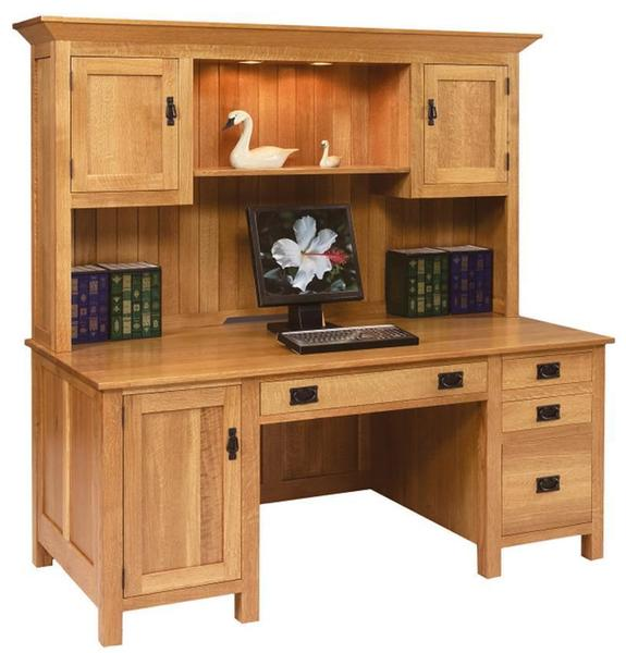 Amish Large Mission Computer Desk with Hutch Top