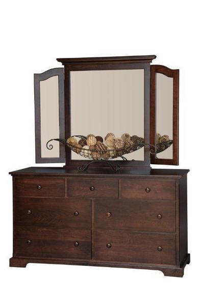 Amish 7 Drawer Dresser with Optional Mirror
