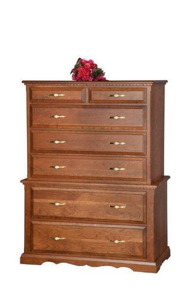 "Amish 42"" Chest on Chest of Drawers"