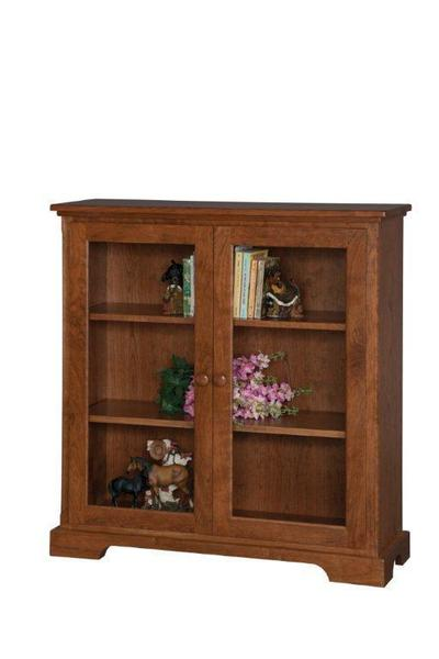 Small Glass Door Wooden Bookcase From Dutchcrafters Amish Furniture