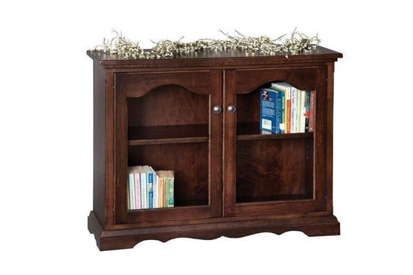 Amish Small Bookcase with Glass Doors