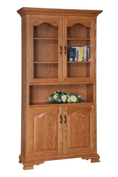 Solid Wood Bookcase With Doors From