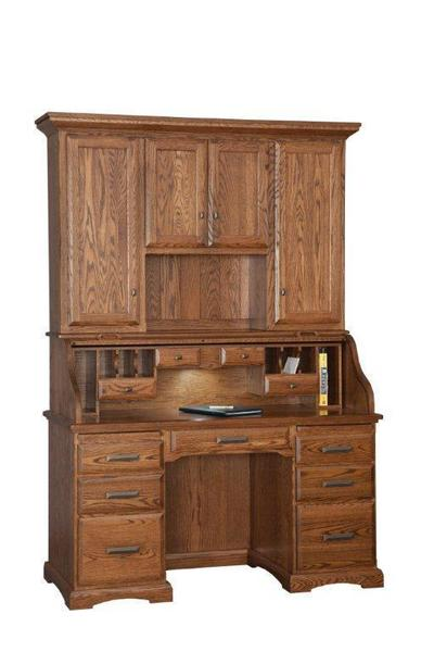 Amish Roll Top Desk with Hutch