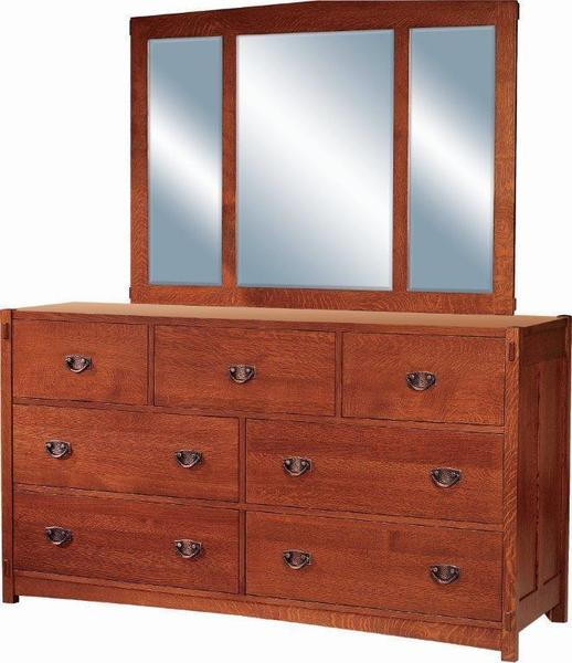 Amish Post Mission 7-Drawer Dresser with Optional Mirror