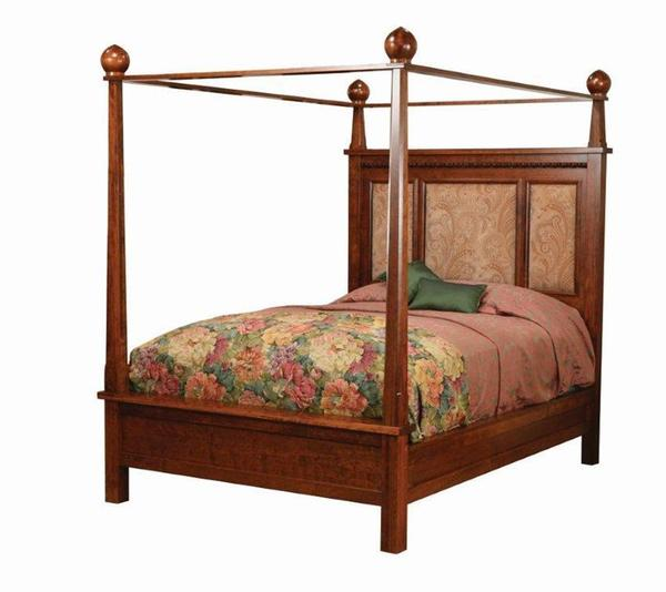 Amish Pittsburg Bed with Canopy and Fabric Panels