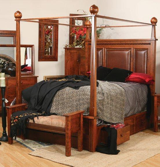 Amish Pittsburg Bed with Canopy and Storage Rails