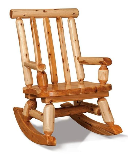 Amish White Cedar Log Mama Bear Rocker
