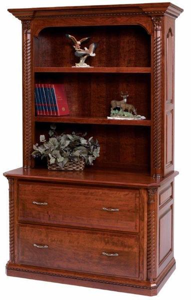 "Amish Lexington 48"" Lateral File with Optional Bookshelf"