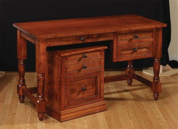 Amish Home Office Goshen Desk with Roll Under File Cabinet