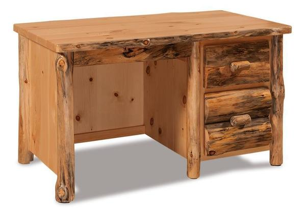 Amish Rustic Pine Log Single Pedestal Writing Desk