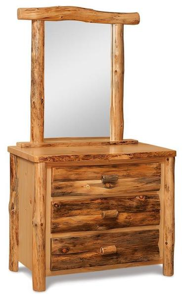 Amish Rustic Log Three Drawer Small Dresser with Optional Mirror