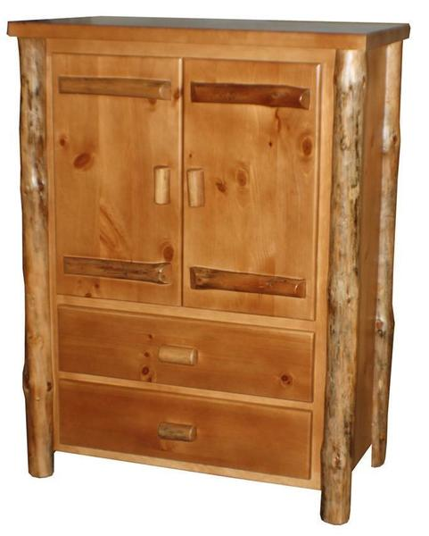 Amish Log Furniture Rustic Log Armoire with Drawers