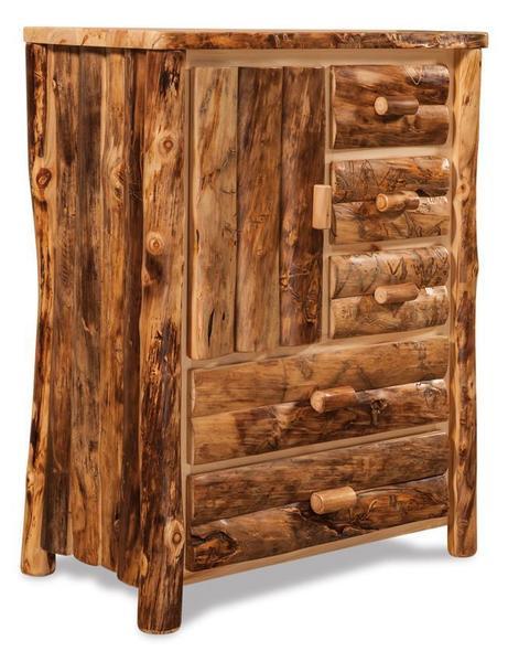Amish Log Furniture Rustic Aspen Armoire