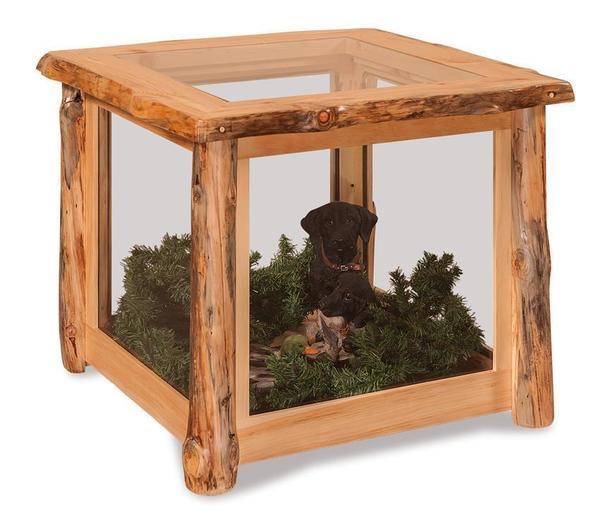 Amish Rustic Log Wood Display End Table Case